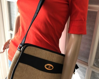 Etienne Aigner vintage three compartment jute shoulder bag