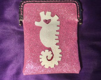 Seahorse Pink Sparkly Coin/cards clutch bag