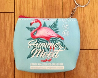 Pink Flamingo Summer Mood Keychain Coin Bag/Pouch