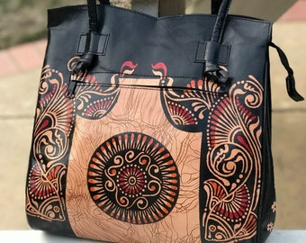 bef5c96627 Hand Painted tooled pAISLEY Batik genuine GOAT LEATHER Hippie Hobo Handbag  Purse Bag INDIA Shantiniketan Handmade vINTAGE art craft