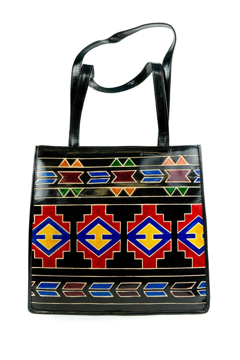 736f5d50c1 HANDMADE Painted INDIA LEATHER Shantiniketan Handbag Purse