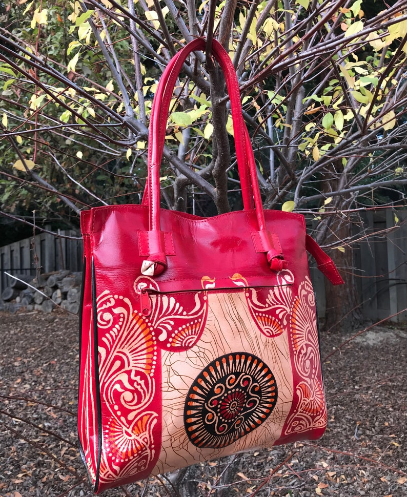 23b8763491 Hand Painted tooled pAISLEY red Batik genuine GOAT LEATHER
