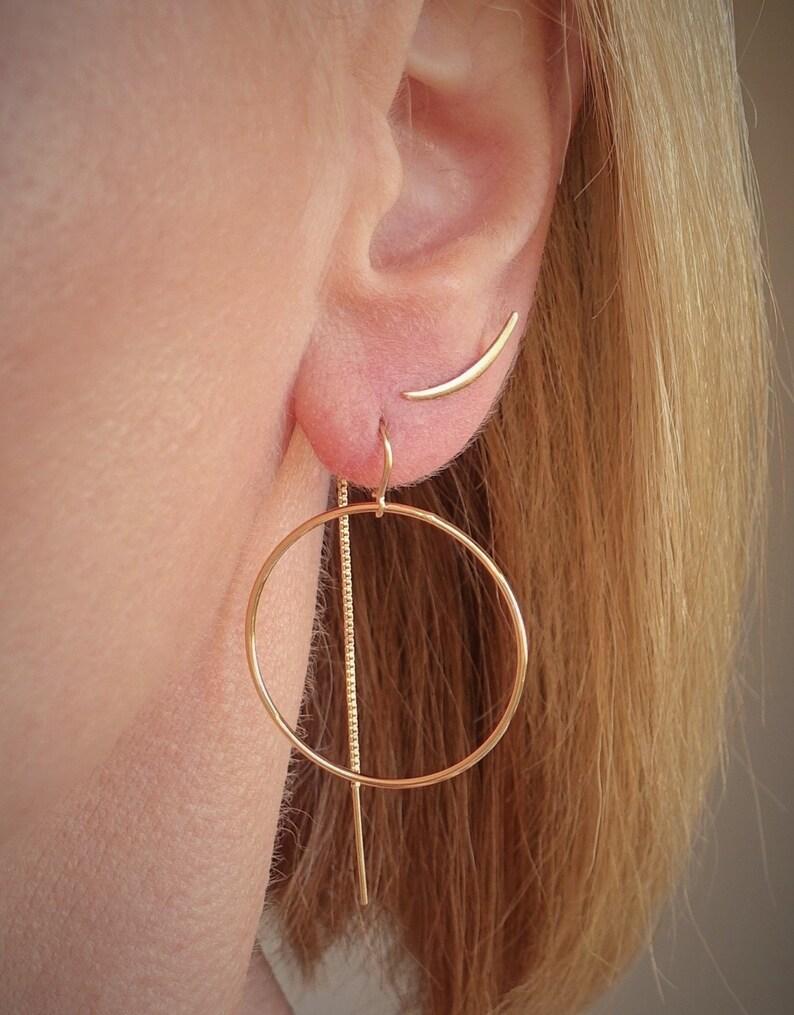 36994f0fb6d69 Hoop Threader Earrings + 14k Gold Filled Thread Earrings + Sterling Silver  Thread Earrings + Hoop Earrings + Dangle Hoop Earrings
