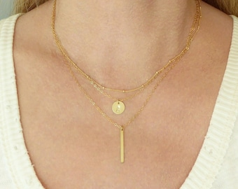 Initial Disc Layered Necklace + Gold Layer Necklace + Silver Layer Necklace + Hand Stamped Jewelry + Personalized Necklace +Initial Necklace