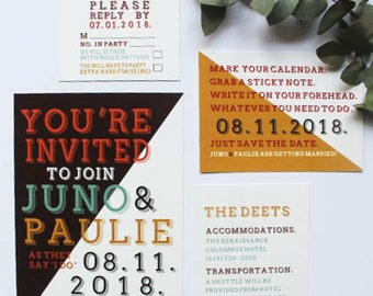 Hipster Wedding Invites, Modern Wedding Invitations, Geometric Invitation Suite, Mid-Century Inspired, Whimsical Invitations, DEPOSIT