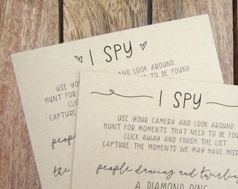 I Spy Wedding Game | A5 Wedding I Spy Cards | Wedding Reception Game | I Spy Game Cards | Wedding Hashtag Sign | Lily Collection