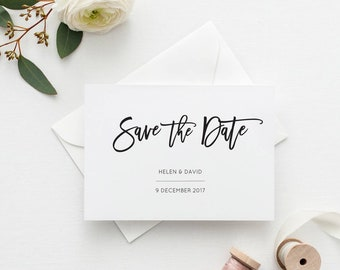 Printable Save the Date Card | Minimal Wedding Save the Dates | Simple Wedding Announcement | Digital Monochrome Invitation | PDF