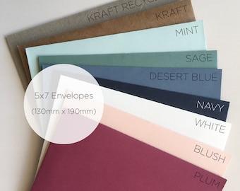 "High Quality Envelopes to fit 5"" x 7"" Cards, Envelopes in Blush, Kraft, Navy, White Invitation Envelopes, Variety of Colours, Pack of 25"
