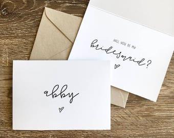 Personalised Bridesmaid Card | Be My Bridesmaid Card | Bridesmaid Proposal Card | Love Heart | Recycled Folded A6 Card & Envelope