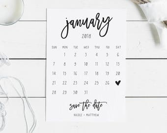 Calendar Save the Date Cards | Fun Script Font Wedding Announcement | Simple Save the Date Calendar | Wedding Calendar with Magnet