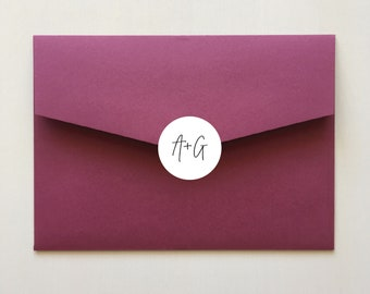 Envelope Sticker with Initials for Wedding Invitation Envelopes | Personalised 40mm Round Labels x 24 Per Sheet | Envelope Seals | Signature