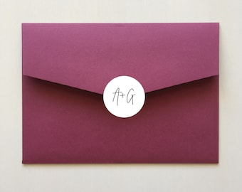 Envelope Sticker with Initials for Wedding Invitation Envelopes   Personalised 40mm Round Labels x 24 Per Sheet   Envelope Seals   Signature