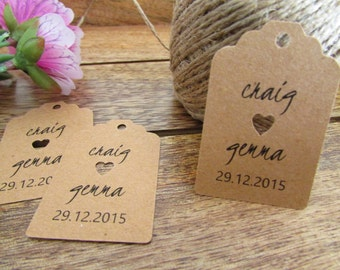 Wedding Favor Tags | Personalized Favor Tags | Shower Gift Tags | Bride & Groom's Names and Wedding Date | Wedding Thank You Tags