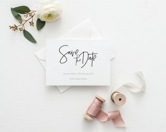 Printable Wedding Save the Date Card | Simple Save the Dates for DIY Wedding | Digital Save the Date Card | Signature Collection | PDF