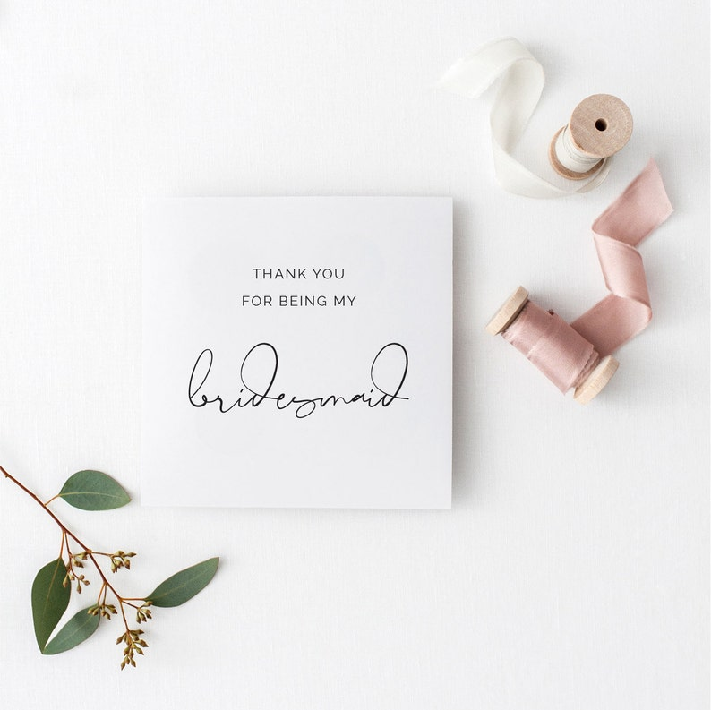 Thank You For Being My Bridesmaid Card For Wedding Day Gift To Etsy