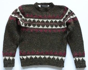 f098b4f43d Vintage Brown Confetti Wool Hand Knit Nordic Sweater Ireland