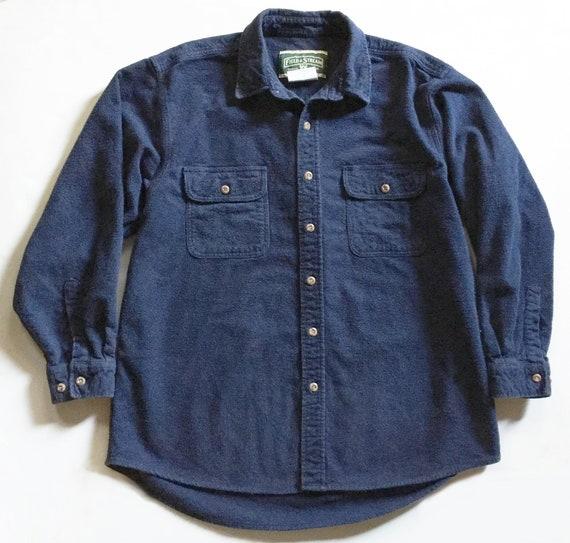 Vintage Navy Cotton Moleskin Shirt XL