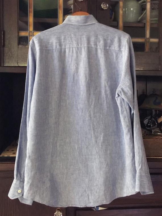 Blue Linen LS Button Down Shirt  S - image 4