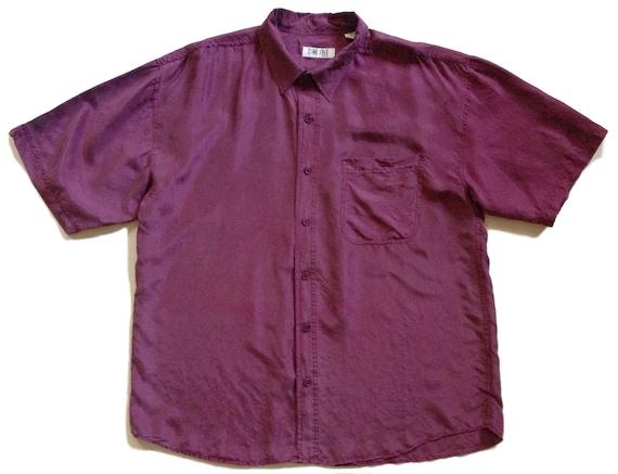 1980s Maroon Washed Silk SS Shirt XL