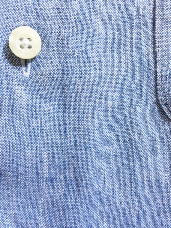 Blue Linen LS Button Down Shirt  S - image 5
