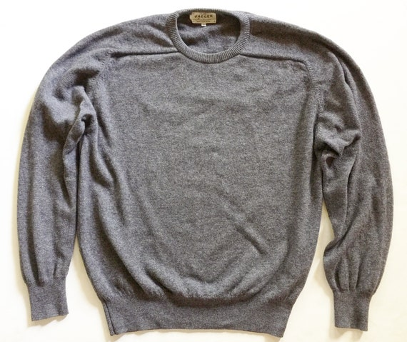 1980s Jaeger Charcoal Wool Crewneck Sweater