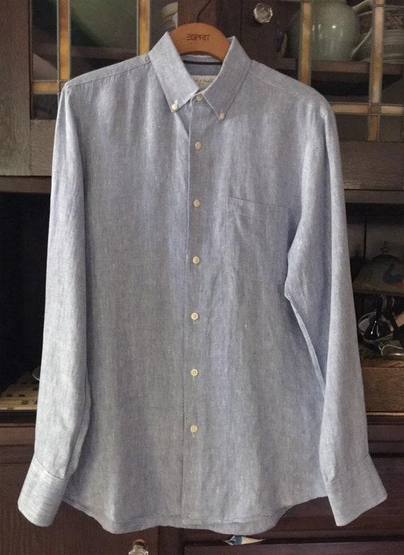 Blue Linen LS Button Down Shirt  S - image 3