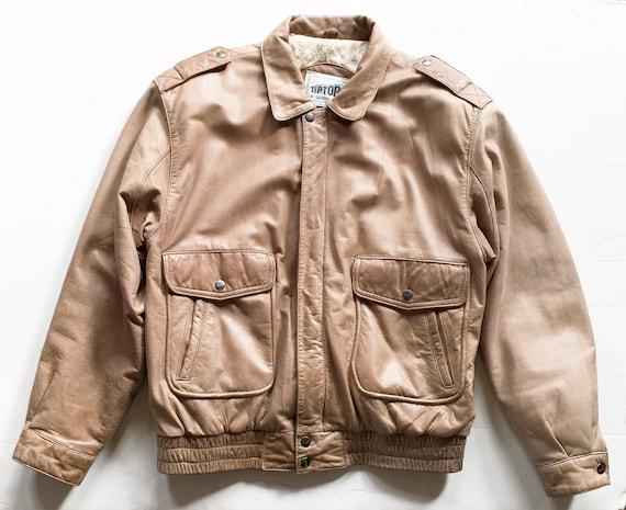 Vintage 1980s Tan Leather Bomber Jacket