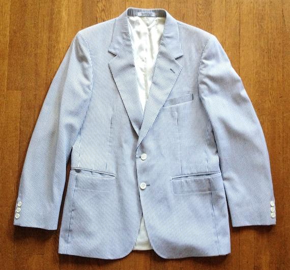 Vintage Grey Seersucker Pinstripe 2 Button Blazer
