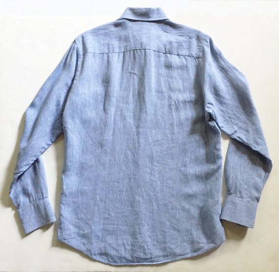 Blue Linen LS Button Down Shirt  S - image 2