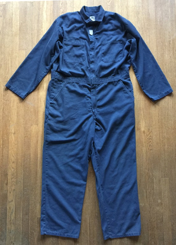 Vintage Blue Cotton Blend Mechanic Jumpsuit Covera