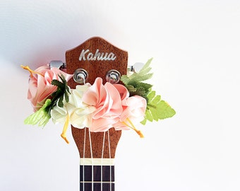 Ukulele lei / pink hibiscus, Ukulele gifts, Ribbon leis, Hawaiian crafts, Gift for Ukulele Player, Ukulele Decor, Uke, Ukulele Lover,