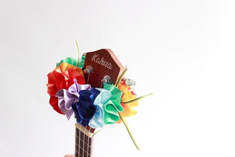 ukulele lei,ukulele strap,ribbon lei,ukulele accessories,uke,soprano ukulele case,hawaiian lei,tropical wedding,plumeria,hibiscus,rainbow A