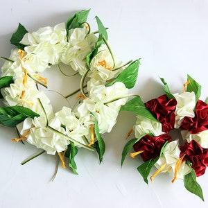 Flower lei etsy hibiscus flower lei 2packs headband and wristband hula accessorieshawaiian crownheadbandhakuluau party ribbon lei tropicalcorsage mightylinksfo