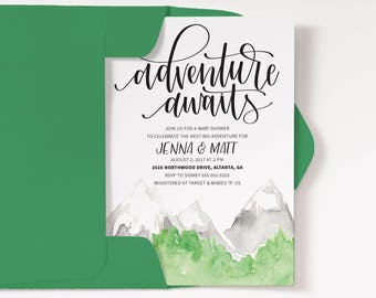 Adventure Baby Shower, Couples Baby Shower, Adventure awaits, travel theme Book Shower, Invitation and enclosure // DIY, digital file