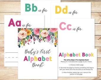 """Alphabet Book Game DIY Baby Shower Activity Game 8.5x11"""" Baby's First Alphabet Book, book baby shower activity, book themed baby shower"""