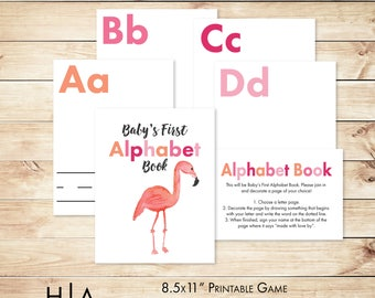 "Alphabet Game Baby Shower DIY ABC Book 8.5x11"", Flamingo Baby Shower, Baby's First Alphabet Book, baby shower activity, book themed shower"
