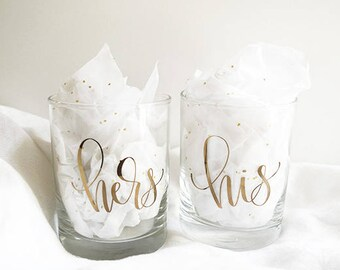 His & Hers Glasses, Gold Foil Tumblers