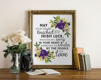 Irish Blessing Printable Art 8x10 PDF // wedding, party decor, purple, digital typography, wall decor, office, print // Hewitt Avenue