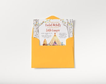 Teepee Camping Baby Shower Invite, Little Camper theme, Invitation and enclosure // Book request, DIY, digital file // Hewitt Avenue