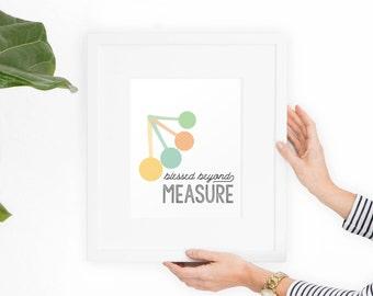 Kitchen Art Printable Art Blessed Beyond Measure Funny Wall Art, measuring spoons, digital art, wall print, wall decor //Hewitt Avenue