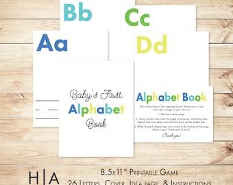"DIY Alphabet Book Baby Shower Activity Game 8.5x11"" Baby's First Alphabet Book, book baby shower activity, book themed baby shower"