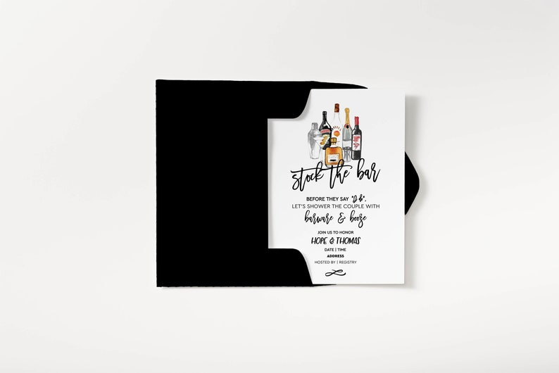 7413c963275 Stock the Bar Invitation Couples Shower Invitation