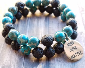"Lava Rock & Tombolo Turquoise Stretch Bracelet Duo w/ ""Mind Over Matter"" Stainless Steel Charm *FREE SHIPPING*"