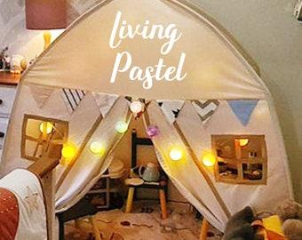 Personalization Cotton Ball String Lights for Bedroom Fairy Lights Custom Kids House Bed Lights Teepee Lights Dorm Decor Birthday Gift