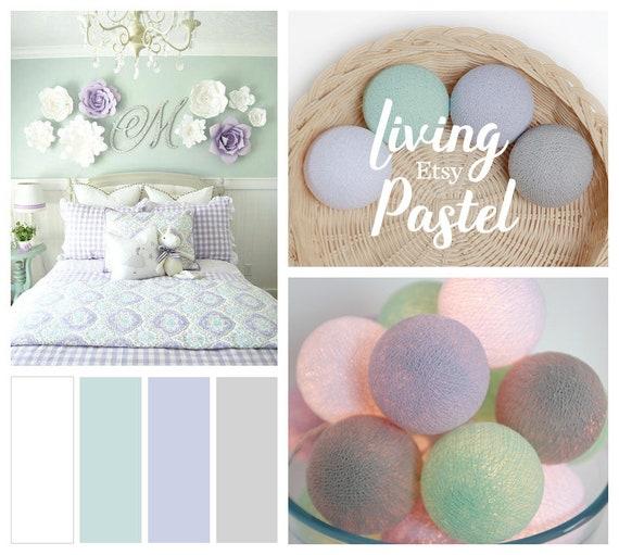 Pastel Earth Tone Cotton Ball String Lights Nursery Kids Bedroom Dorm Decor Gift
