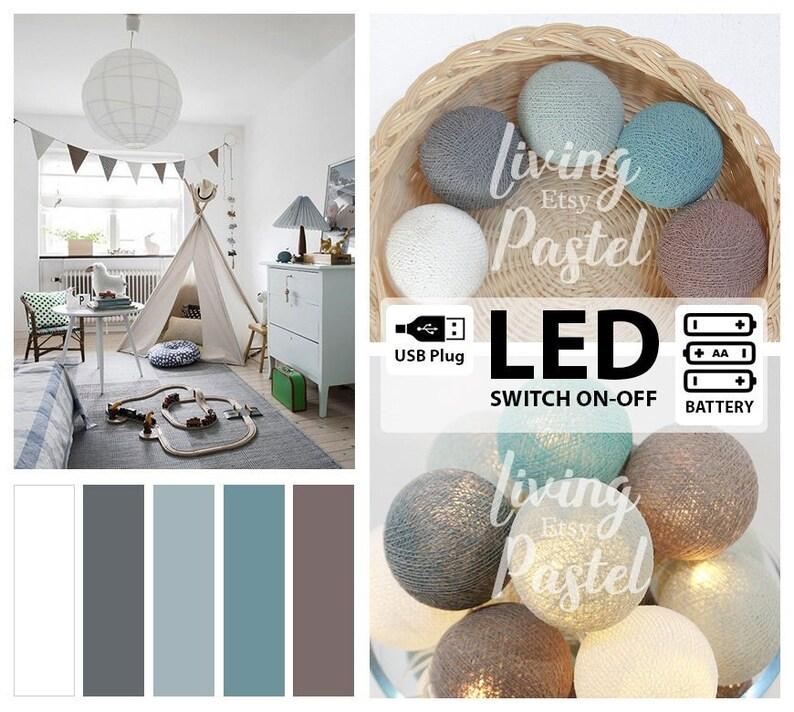 PASTEL COTTON BALL LED BATTERY//USB STRING LIGHTS Nursery Bedroom Kids room Decor