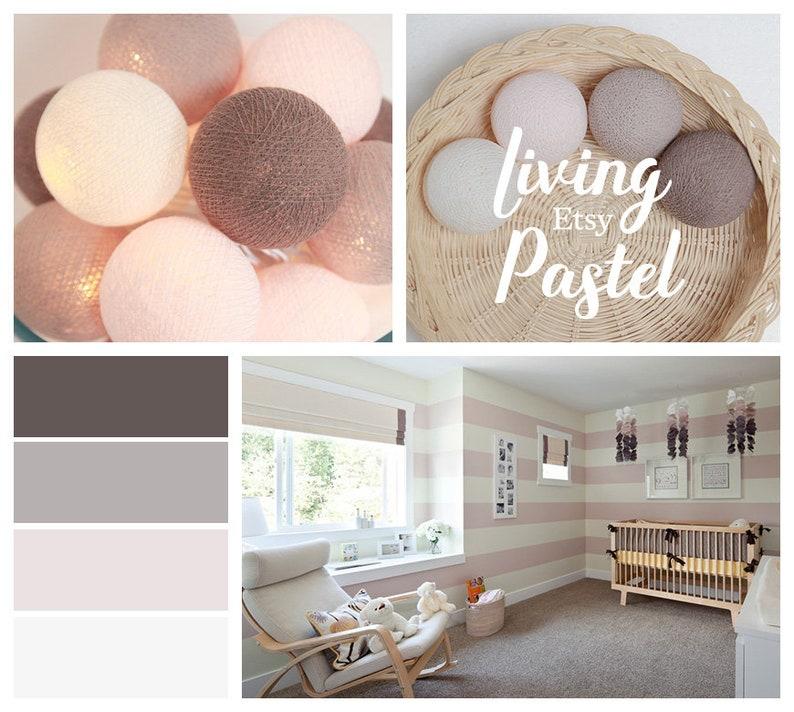 Cotton Ball String Lights Girl Bedroom Fairy Nursery Night Etsy