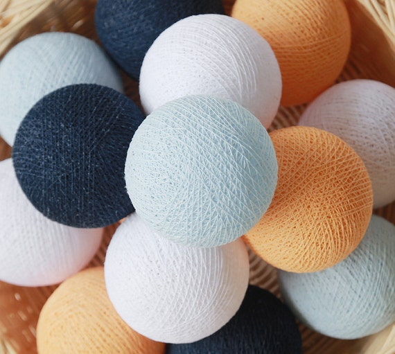 10 20 White Baby Blue Navy Blue Apricot Cotton Ball Lights For Etsy