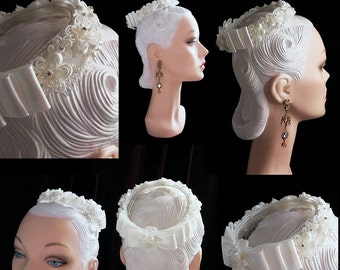 Pale Ivory Satin and Pearl Beaded Hair Wreath Bridal Hair Ring Elegant Flowers and Triple Satin Back Bow One Size