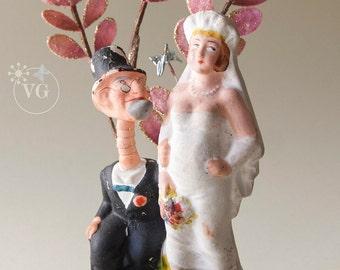 1920's Wall Street Wedding Cake Topper May December Romance Hand Blown Glass Hummingbirds, Velvet Sparkle Leaves, Silk Velvet and Balsa Wood